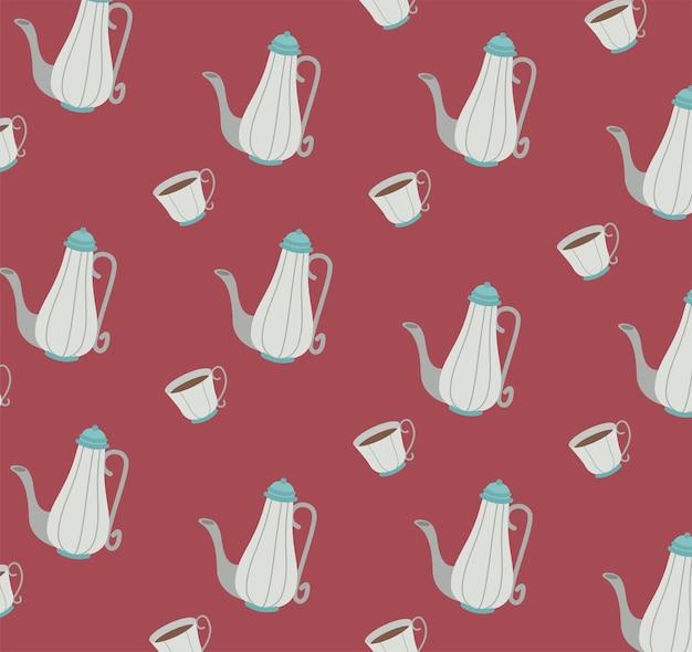 Czajniki i filiżanki do herbaty wzór