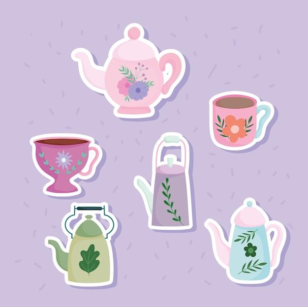Czajniki i kubki na herbatę naklejki drukowane z liśćmi kwiatowymi, ceramiczne naczynia kuchenne, ilustracja kreskówka kwiatowy wzór