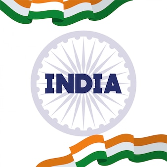 Czakra ashoka z dniem niepodległości flagi indii