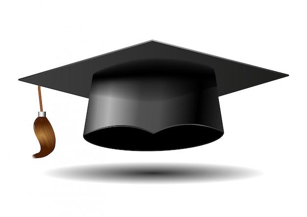 Czapka absolwenta na białym tle