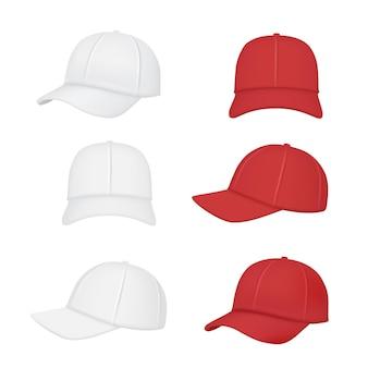 Czapka baseballowa. odzież sportowa realistyczna przednia tylna strona kolekcji czapek