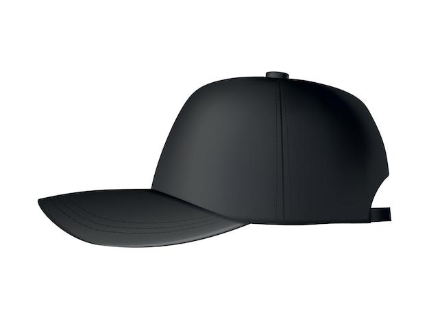 Czapka baseballowa. realistyczny widok z przodu szablonu czapki z daszkiem. czapka sportowa. czarna czapka pusta na białym tle. pusty szablon czapki z daszkiem.