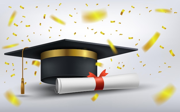 Czapka dyplomowa z papierem dyplomowym i spadającym złotym konfetti ilustracji wektorowych