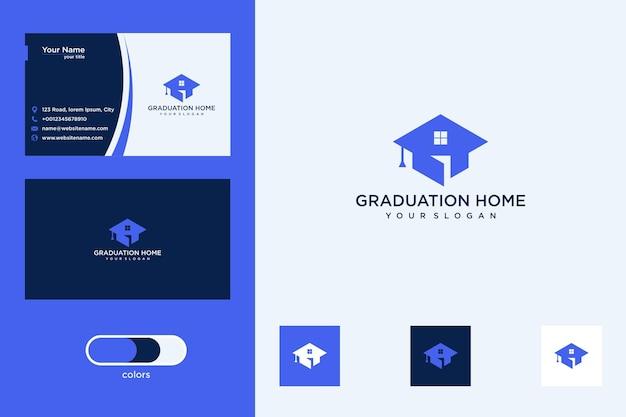 Czapka dyplomowa z projektem logo domu i wizytówką