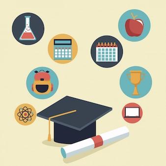 Czapka graduation i certyfikat i ikony elementów szkoły