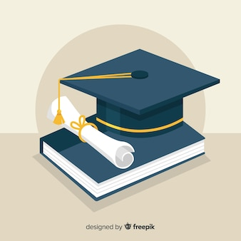 Czapka i dyplom ukończenia studiów o płaskiej konstrukcji