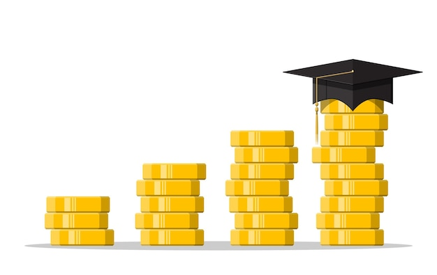 Czapka i złota moneta. koncepcja oszczędności i inwestycji edukacyjnych. wiedza akademicka i szkolna. ilustracja wektorowa w stylu płaski