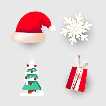 Czapka świąteczna, drzewo, płatek śniegu i prezent do dekoracji