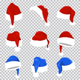 Czapka świętego mikołaja czerwony i niebieski zestaw