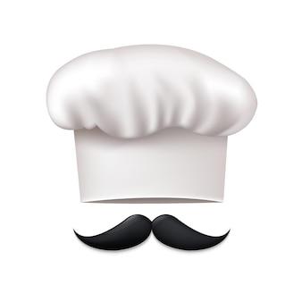Czapka szefa kuchni i wąsy