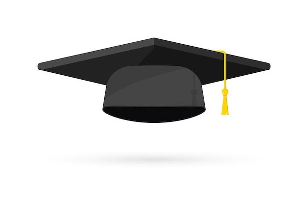 Czapka ukończenia szkoły. czarny kapelusz absolwenta uniwersytetu, elementy projektu szablonu. logo ukończenia szkoły. element do ceremonii wręczania dyplomów i programów edukacyjnych. ukończenie uniwersytetu lub kolegium