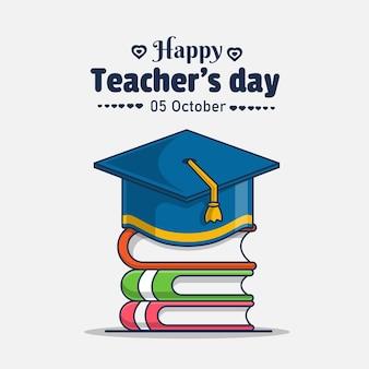 Czapka ukończenia szkoły i książka z ilustracją szczęśliwego dnia nauczyciela