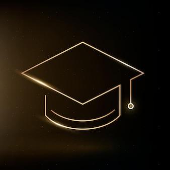 Czapka ukończenia szkoły ikona edukacji wektor złota grafika cyfrowa