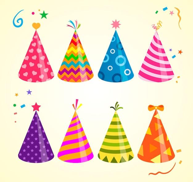 Czapka urodzinowa, ilustracje czapka urodzinowa. kolorowe czapki imprezowe