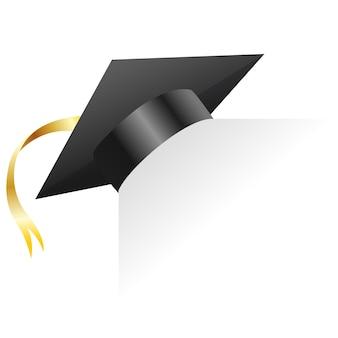 Czapka z daszkiem. element do ceremonii ukończenia studiów i programów edukacyjnych