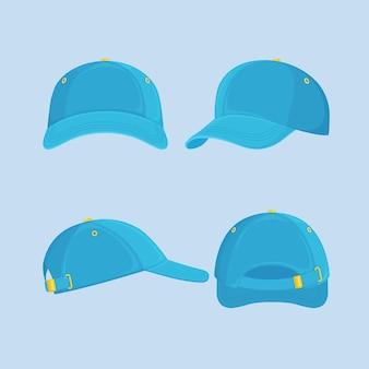 Czapka z daszkiem, kapelusz na białym tle na niebieskim tle