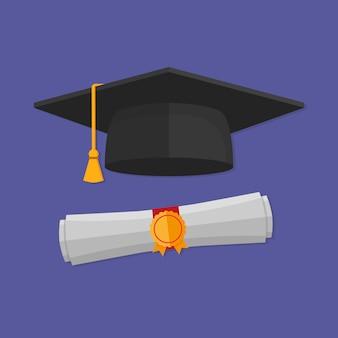 Czapka z dyplomem ukończenia szkoły i zwinięty dyplom. płaski styl