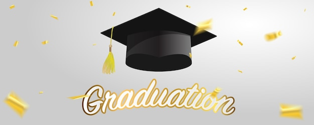 Czapki absolwenta i złote konfetti