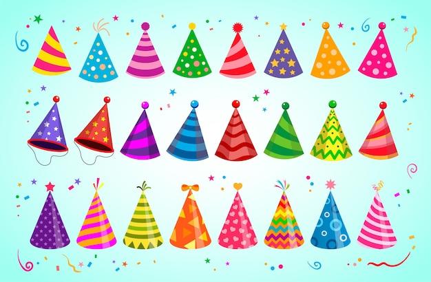 Czapki imprezowe, czapki urodzinowe do świętowania w różnych kolorach. duża kolekcja urodzinowych czapek