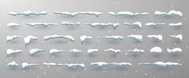 Czapki śnieżne, śnieżki i zaspy śnieżne.