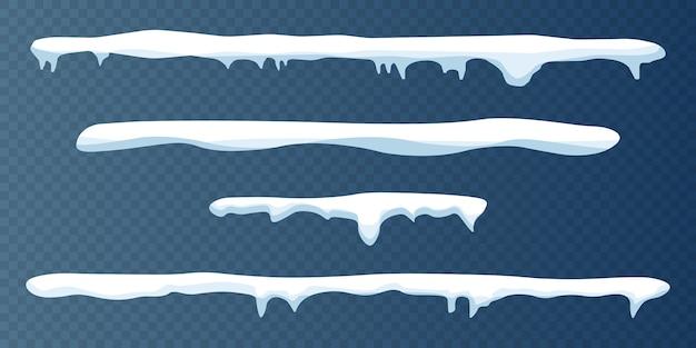 Czapki śnieżne ustawione na przezroczystym tle.