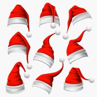 Czapki świętego mikołaja. świąteczne czerwone i puszyste nakrycia głowy i ferie zimowe noszą realistyczny zestaw