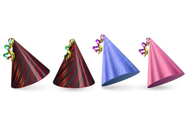 Czapki urodzinowe ustawione na białym tle kolorowe kapelusze imprezowe