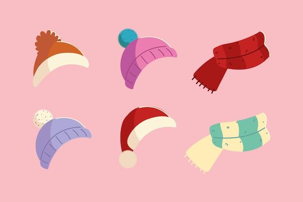 Czapki zimowe i szalik z dzianiny akcesoria odzieżowe ikony projektowania