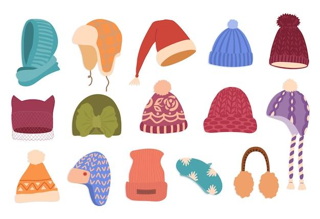 Czapki zimowe ręcznie rysowane zestaw ilustracji kolor.