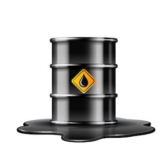Czarna beczka z etykietą kropli oleju na rozlanej kałuży ropy naftowej. ilustracja na białym tle