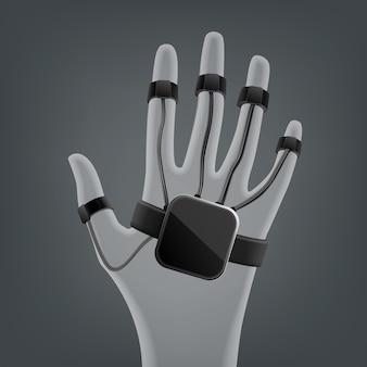 Czarna bezprzewodowa rękawica wirtualnej rzeczywistości widok z góry na białym tle na szarym tle rozmycia