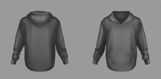 Czarna, bluza z kapturem, wzorowana z przodu iz tyłu