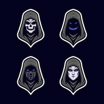 Czarna bluza z kapturem z logo maskotki alternative face version