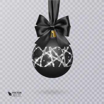 Czarna bombka ozdobiona realistyczną czarną kokardką i błyszczącym srebrnym ornamentem