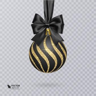 Czarna bombka ozdobiona realistyczną czarną kokardką i błyszczącym złotym ornamentem