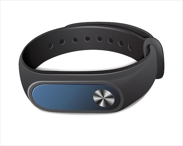 Czarna bransoletka fitness do kontrolowania aktywności fizycznej,