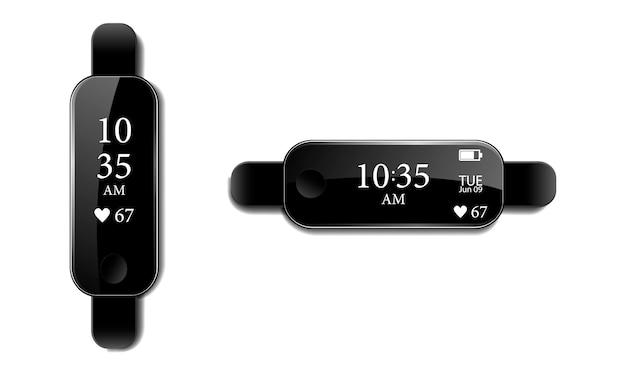 Czarna bransoletka fitness lub smartwatch, godzina, data, ładowanie baterii i puls na ekranie bransoletki z odblaskiem