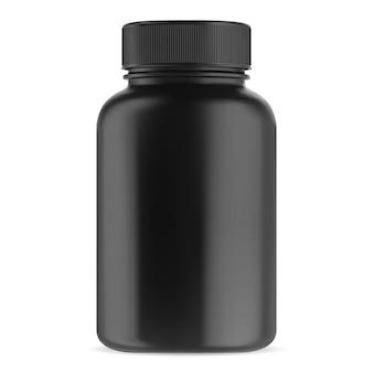 Czarna butelka suplementu. pojemnik na pigułki witaminowe