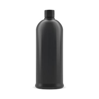 Czarna butelka szamponu. plastikowy pojemnik kosmetyczny