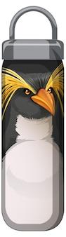 Czarna butelka termosu ze wzorem pingwina