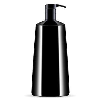 Czarna butelka z dozownikiem kosmetycznym