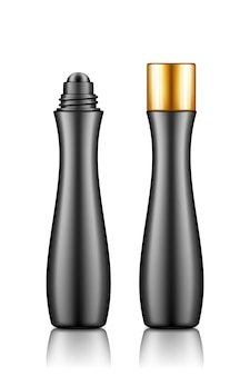 Czarna butelka z kremem, serum, olejkiem eterycznym do liftingu, pielęgnacja przeciwstarzeniowa, zapobieganie zmarszczkom