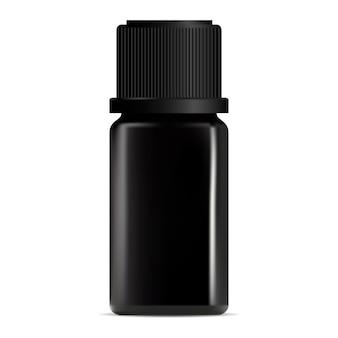 Czarna butelka z zakraplaczem olejku aromatycznego. projekt pojemnika na serum kosmetyczne. luksusowa fiolka do leczenia kolagenu. dzbanek na perfumy. opakowania produktów do pielęgnacji twarzy w płynie