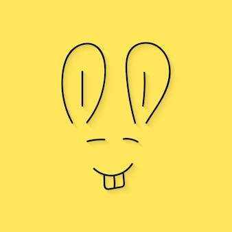 Czarna cienka linia pyska królika. koncepcja świąteczna, twarz, szkicowy element ulotki, wydarzenie, powitanie, sezon. na białym tle na żółtym tle. płaski trend w nowoczesnym stylu projektowania ilustracji wektorowych