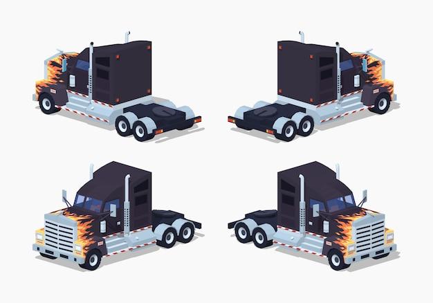 Czarna ciężka izometryczna ciężarówka 3d z niską prędkością iz wzorem ognia