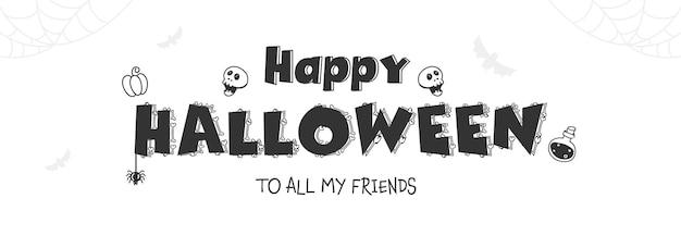 Czarna czcionka happy halloween ozdobiona kośćmi, czaszką, zawieszką pająka, butelką eliksiru i dynią na białym tle.