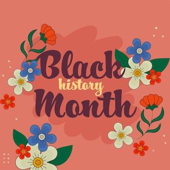 Czarna czcionka miesiąca historii z kwiatami, liśćmi ozdobione na czerwonym tle.