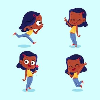 Czarna dziewczyna w różnych pozach zestaw