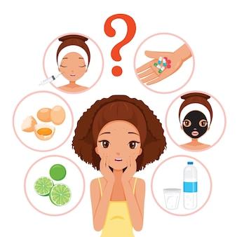 Czarna dziewczyna z pryszczami na twarzy i skórze zestaw ikon twarzy