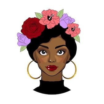 Czarna dziewczyna z wieńcem kwiatów. piękna kreskówka młoda kobieta